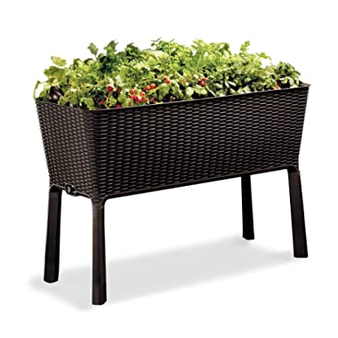 Keter Easy Grow 31.7 Gallon Raised Garden Bed with Self Watering Planter Box and Drainage Plug, Brown