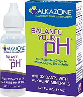 ALKAZONE Balance Your pH, Antioxidants Alkaline Mineral Drops, Single 1.25 Oz Pack, Portable, Yields 10 Gallons of alkalin...