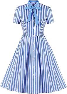 Wellwits - Abito da donna a righe con scollo a cravatta e bottoni vintage
