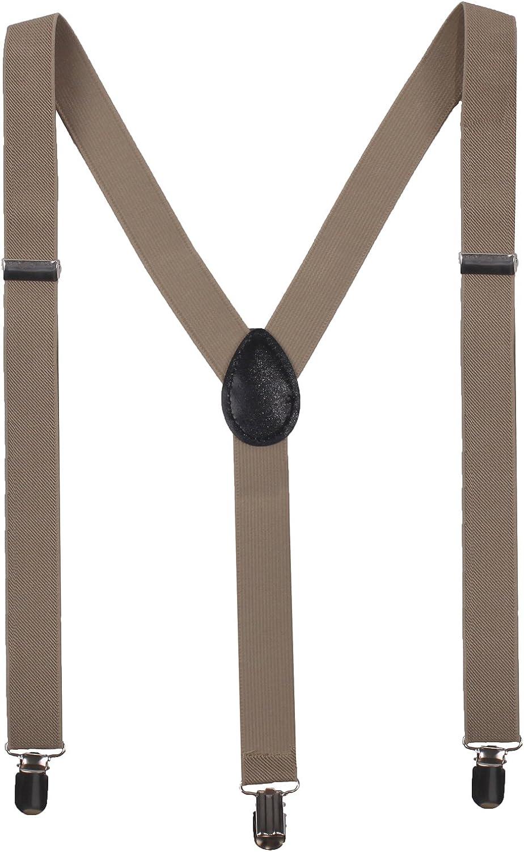 BODY STRENTH Men's Adjustable Suspenders Y Shape 3 Clips Solid Khaki