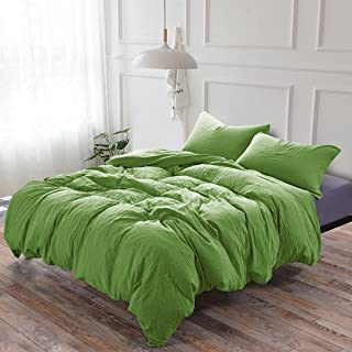 3-Piece Duvet Cover Twin, 100% Washed Microfiber Duvet Cover, Ultra-Soft Luxury & Natural Wrinkled Look, Bedding Set (Queen, Green)