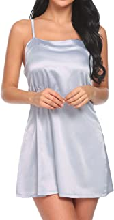 Ekouaer Sexy Nightgown Womens Satin Lace Trim Slip Chemise Nightwear Full Slip Dress Comfort Sleepwear