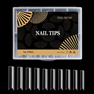 DONG RHYME 100PCS Extra Long C Curve Nail Tips for Nail Art Salon 10 Sizes XXL Coffin Shape Clear Half Cover Fake Nails Ti...