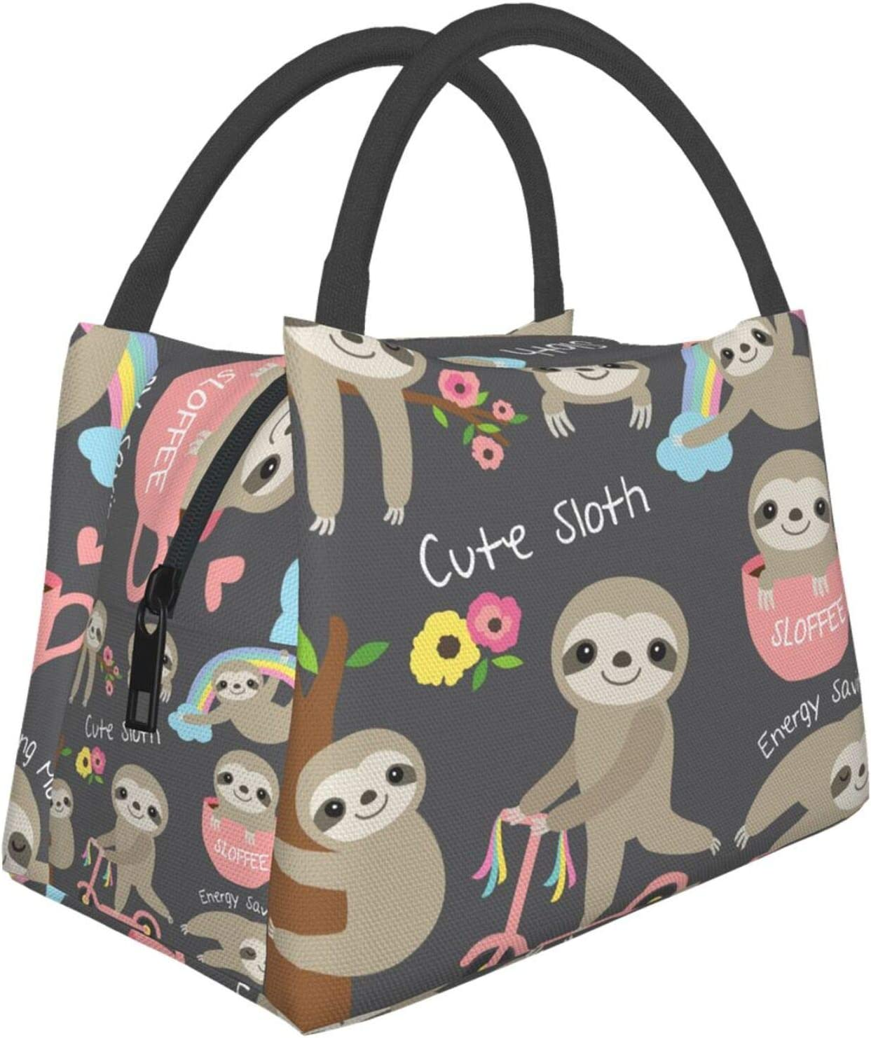Reusable Insulated Lunch Bag Cute Directly managed store Funny Tre SALENEW very popular Floral Rainbow Sloth