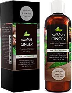 Sulfate Free Moisturizing Shampoo for Dry Curly Hair and Flaking Scalp with Awapuhi Wild Ginger Extract and Keratin Hair Treatment for Long Full Beautiful Hair Natural Cleanser Safe for Colored Hair