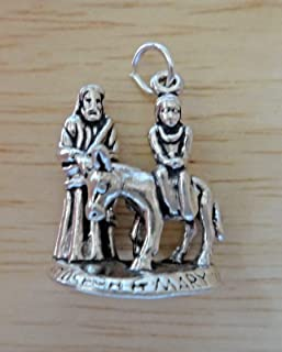 Sterling Silver 3D 7gram 23x18x10mm Nativity Mary & Joseph on Donkey Charm DIY Crafting by Wholesale Charms