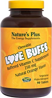NaturesPlus Love Buffs Chewable Buffered Vitamin C - 250 mg Vitamin C, 90 Heart-Shaped Tablets - Orange Flavor - Immune Su...
