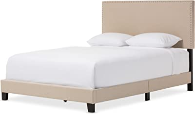 Baxton Studio Rosalie Modern and Contemporary Beige Linen Upholstered Bed with Nail Heads, Queen
