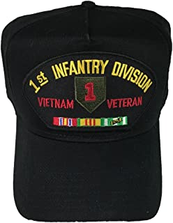 1ST INFANTRY DIVISION VIETNAM VETERAN HAT with ribbons and Big Red One crest cap - BLACK - Veteran Owned Business