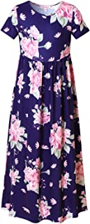 QPANCY Floral Maxi Dresses for Girls Short Sleeve Flower Long Dress with Pockets