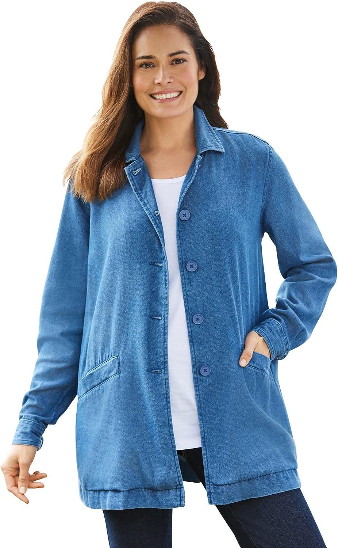Woman Within Women's Plus Size Pleat-Back Denim Jacket