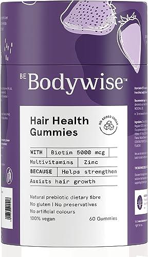 Bodywise 5000 mcg Biotin Hair Gummies For Women No Added Sugar Biotin Supplements for Healthy Hair Hair Vitamin Reduce Hair fall with Delicious Strawberry Flavoured Gummies Added Zinc Multivitamins 60 Day Pack