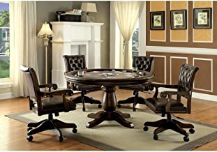 FA Furnishing Paddington 54 inch Round Dining or Gaming Table, 4 Chairs in Dark Brown Wood