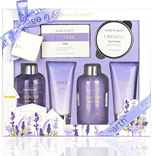 Bath and Body Gift Set - Luxurious 6 Pcs Bath Kit for Women, Body & Earth Spa Set with Lavender Scent - Bubble Bath, Showe...