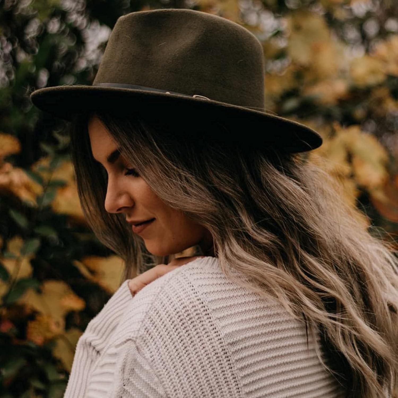 Koreshion 2 Pack Women Belt Buckle Wool Wide Brim Fedora Hat