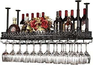 FURVOKIA Industrial Metal Vintage Bar Wall-Mounted Wine Racks,Wine Glass Hanging Rack,Under Cabinet Cup Shelf,Restaurant Cafe Kitchen Organization and Storage Shelve(Black, 47.2''L)