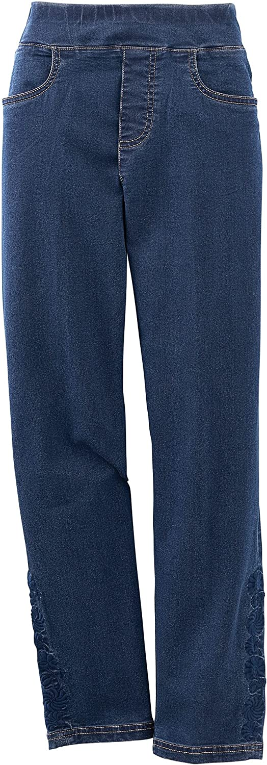 National Women's Tonal Embroidered Jeans, Ankle Length, Straight-Leg, Flat Wide Waistband, Pull-On/Off, Lightweight Stretch Denim, Dark Stonewash, 20W