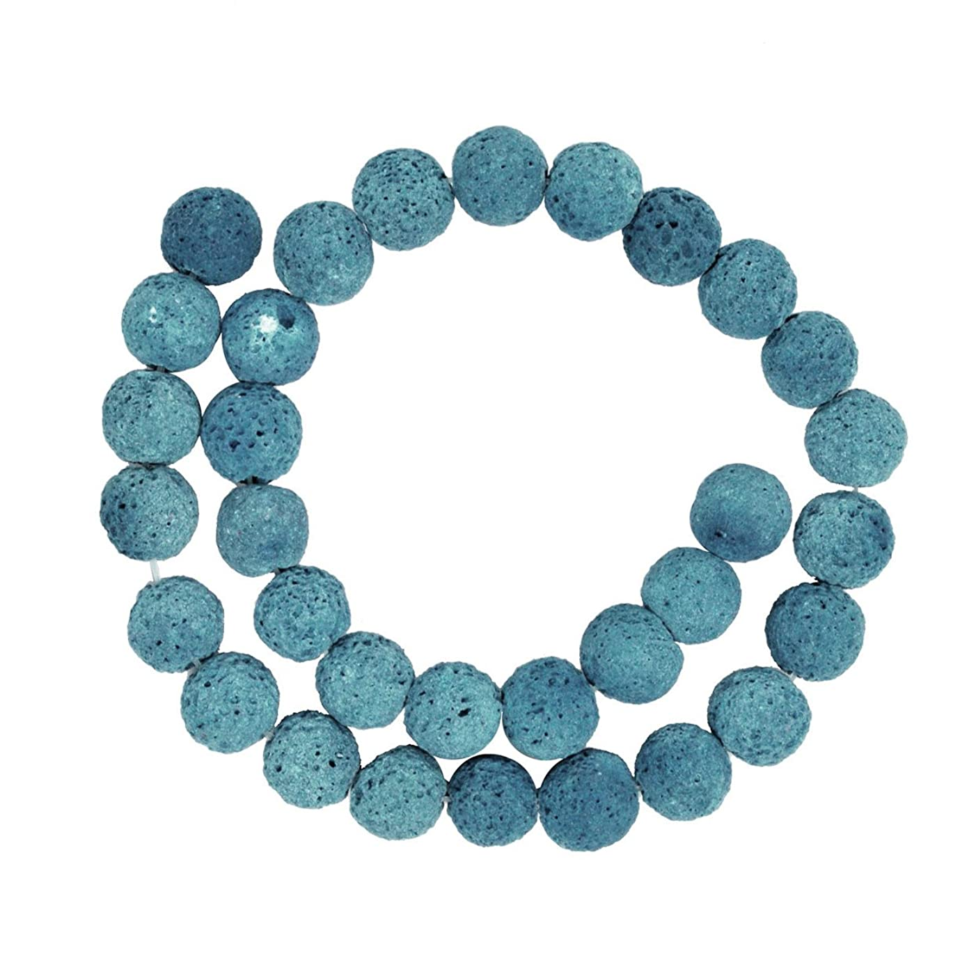 Mandala Crafts 6 8 10 12 14mm Lava Rock Stones Round Ball Beads for Essential Oil Diffuser Bracelet Necklace (10mm, Turquoise)