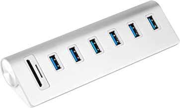 Cateck USB 3.0 6-Port Aluminum Hub with 2-Slot Card Reader Combo and 5V/4A High-Capacity Power Supply for iMac, MacBook Air, Mac Pro,MacBook Pro, MacBook, Mac Mini, PCs and Laptops