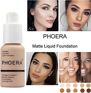 Sonmer Foundation Full Coverage New 30ml PHOERA 24HR Matte Oil Control Concealer Liquid Foundation (Sand #105)