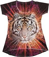 Sweet Gisele   Tiger Face 3D T-Shirt   Womens Top   High Low Cut Rhinstone Tee