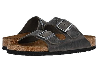 Birkenstock Arizona Soft Footbed Leather (Unisex) (Iron) Sandals