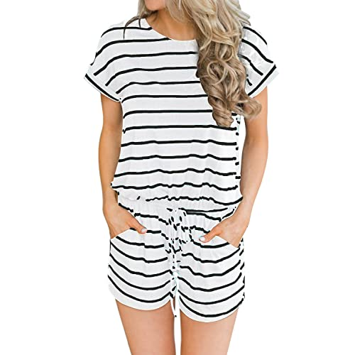 d36b662185e MIHOLL Women s Summer Striped Jumpsuit Casual Loose Short Sleeve Jumpsuit  Rompers