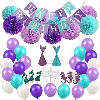 Mermaid Theme Flag Party Balloon Mermaid Party Supplies Birthday Decoration Balloons Foil Balloons set