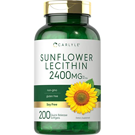 Sunflower Lecithin 2400mg | 200 Softgels | Rich in Phosphatidyl Choline | Non-GMO, Soy Free, Gluten Free Supplement | by Carlyle