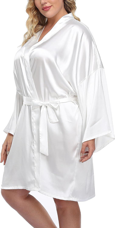 Women's Plus Size Satin Kimono Robes Short Silk Bathrobe Bridesmaid Wedding Party Nightgown Sleepwear