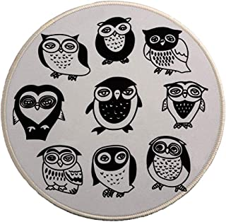 MissOwl Mouse Pad Round Rubber Base Mouse Mat Durable Stitched Edges for Laptop Computer Notebook Office Home Working Desk...