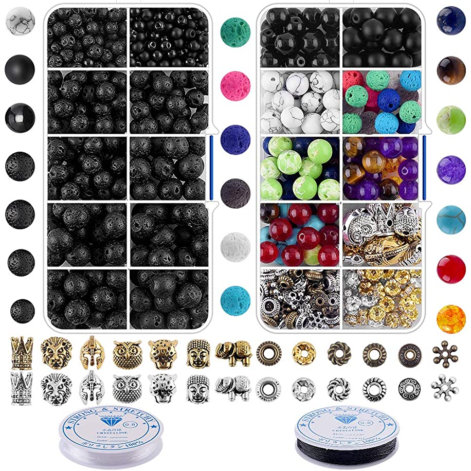 Bracelet Making Kit Beads Bulk - 800Pcs Color Volcanic Gemstone Lava Rock Beads Bulk Chakra Beads Spacer Beads with Crystal String for Diffuser Bracelets DIY Jewelry Making Supplies (4mm 6mm 8mm)