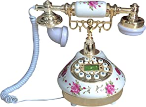 $47 » Benotek Corded Antique Landline Telephones, Ceramic Made Old Fashion Home Phone, Classic Decorative Single Line Desk Telep...