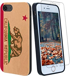 Best California Flag Bear Wood Phone Case Compatible with iPhone Xs Max Includes Strong 9H Glass Screen Protector, Wireless Charging Compatible, Shockproof Protective Cover Review