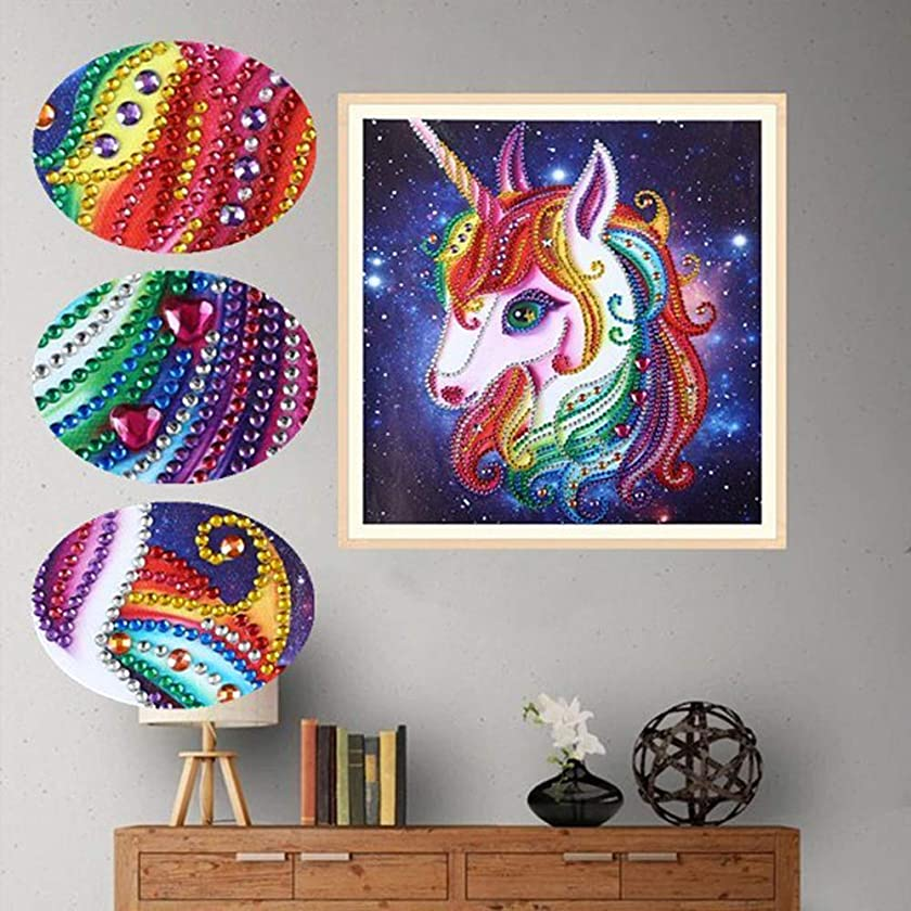 Amersin DIY 5D Special Shaped Diamond Painting by Number Kits, Full Drill Rhinestone Embroidery Cross Stitch Pictures for Christmas Home Decor (Unicorn 2)
