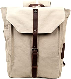 """Travel Log Nova Backpack Canvas Genuine Leather 15.6"""" Laptop School Backpack and Travel Bag One_Size Off-white 43235-102280"""
