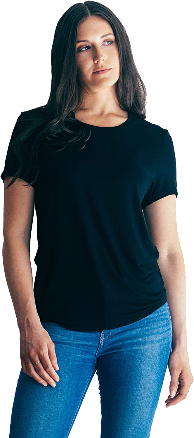 bluee & Butter Women's Modal Crewneck TShirt   Soft Plain Loose Relaxed Everyday Essential TShirt for Women