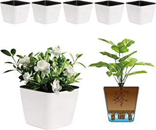 T4U 4 Inch Self Watering Plastic Planter with Liner Pack of 6 - Matte White, Modern Decorative Small Planter Pot for House...