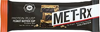 MET-Rx Protein Plus Bar, Great as Healthy Meal Replacement, Snack, and Help Support Energy, Gluten Free, Peanut Butter Cup, 85 g, 9 Count