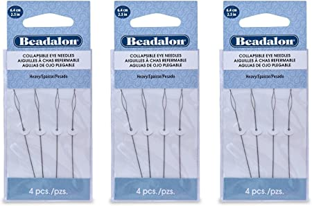2.25 Length Flexible Needles 4 NeedlesPack Beadalon Big Eye Beading Needles