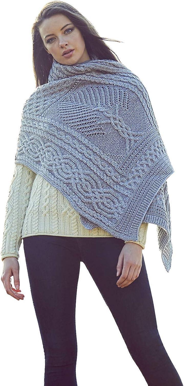 100% Merino Wool Knit Fairy Tree Irish Celtic Shawl (Grey)
