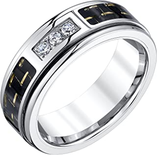 Mens Tungsten Carbon Fiber and Diamond Band (0.15cts)