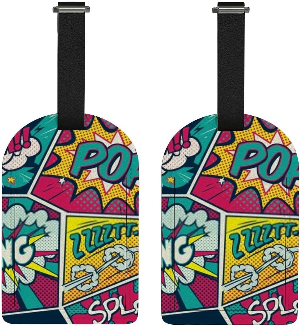 Set of 2 Luggage Tag with Full Art I Pop Sale outlet price Name Back Retro Privacy