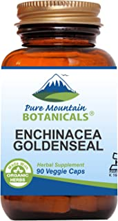 Echinacea Goldenseal Capsules - 90 Kosher Vegan Caps with 450mg Organic Echinacea Goldenseal Complex
