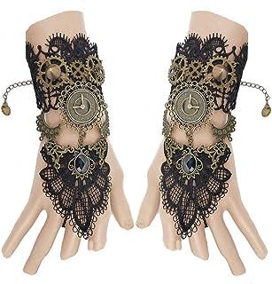 Juland - Set di guanti senza dita in stile gotico floreale in pizzo steampunk, orologio da polso vintage con cinturino in ...