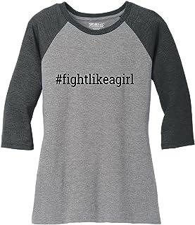 Fight Like a Girl Hashtag Ladies' Tri-Blend Baseball-Style Raglan T-Shirt (Assorted Colors)