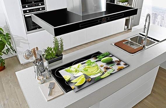 decorwelt Cache-plaques citron vert universel Protection anti-/éclaboussures Verre D/écoration /électrique pour plaques de cuisson Protection de plaque de cuisson Planche /à d/écouper Verre de s/écurit/é