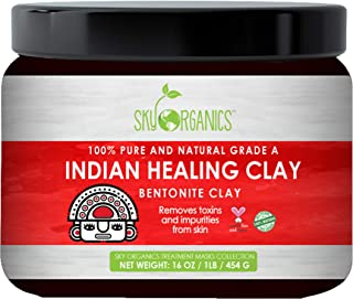 Indian Healing Clay Face Mask 100% Pure & Natural Bentonite Clay Therapeutic Grade - Face Skin Care Deep Skin Pore Cleansing, Detoxifying- Helps with Acne & Rejuvenating Skin- Made in USA 1lb