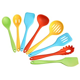 AmazonCommercial Ensemble d'ustensiles de cuisine en silicone résistant à la chaleur Anti-adhésif Ensemble de 8 ustensiles...