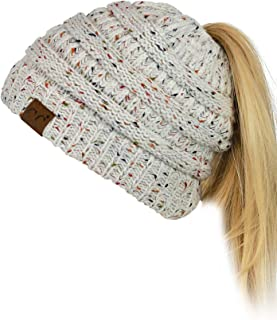 7ffc3375 C.C BeanieTail Soft Stretch Cable Knit Messy High Bun Ponytail Beanie Hat